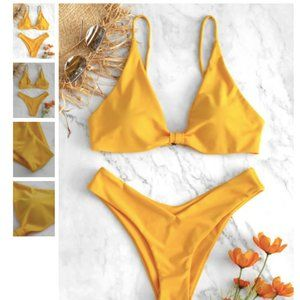 Zaful High Leg Knot Bikini Set Yellow